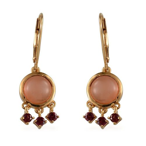 Mitiyagoda Peach Moonstone (Rnd), Rhodolite Garnet Earrings in 14K Gold Overlay Sterling Silver 10.500 Ct.