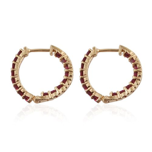 Mahenge Spinel (Rnd) Hoop Earrings in 14K Gold Overlay Sterling Silver 1.500 Ct.