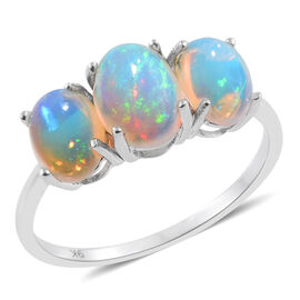 9K W Gold AA Ethiopian Welo Opal (Ovl 1.25 Ct) 3 Stone Ring 2.750 Ct. Gold wt 3.0 grms