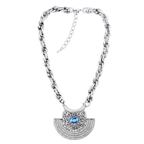 Simulated Aquamarine, White Austrian Crystal Necklace (Size 18 with Extender) in Black Tone