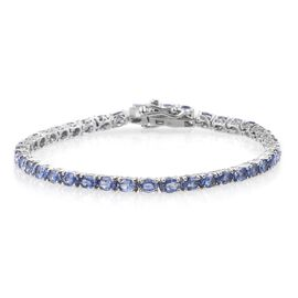 9K White Gold 7 Carat Tanzanite Oval Tennis Bracelet - Size 7.