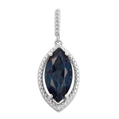 Indicolite Quartz (Mrq), Diamond Pendant in Platinum Overlay Sterling Silver 4.750 Ct.