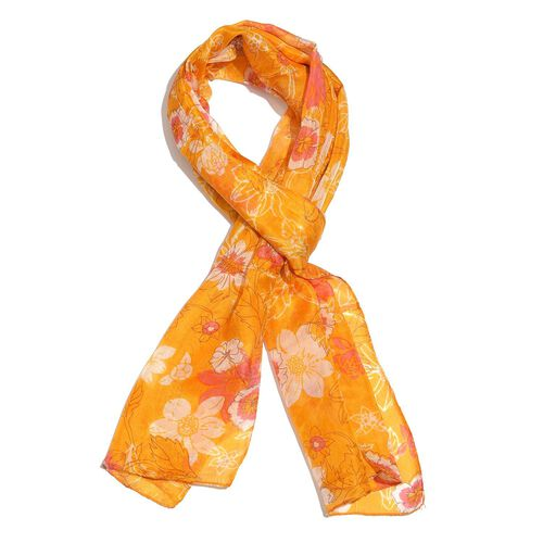 100% Mulberry Silk Pink, Orange and White Colour Floral Pattern Yellow Colour Scarf (Size 180X50 Cm)