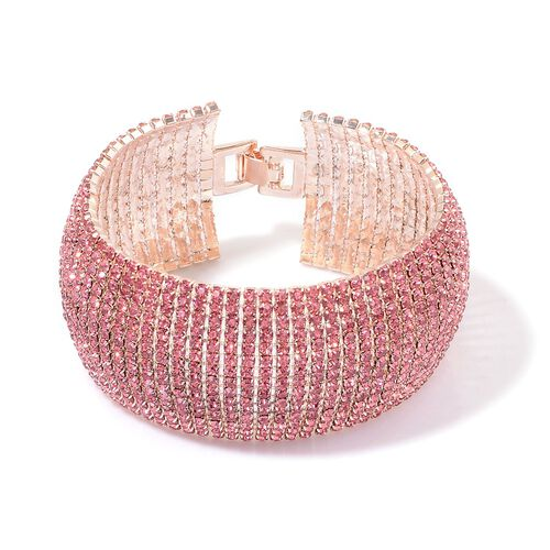 AAA Pink Austrian Crystal Bracelet (Size 8) in Rose Gold Tone