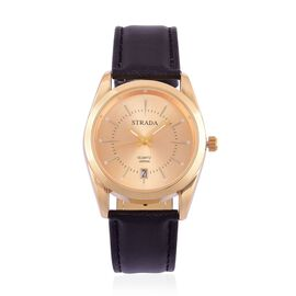 STRADA Japanese Movement Golden Dial Water Resistant Watch in Gold Tone with Stainless Steel Back and Black Strap