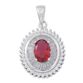 ELANZA AAA Simulated Ruby (Ovl), Simulated White Diamond Pendant in Rhodium Plated Sterling Silver