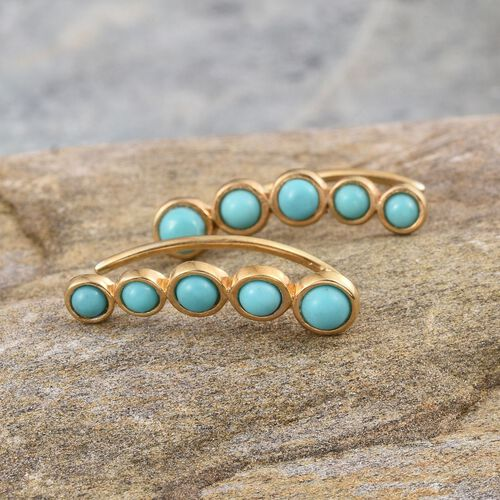 Sonoran Turquoise (Rnd) Climber Earrings in 14K Gold Overlay Sterling Silver 1.750 Ct.