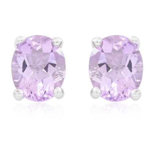 Rose De France Amethyst (Ovl) Stud Earrings (with Push Back) in Rhodium Plated Sterling Silver 4.500 Ct.