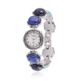 STRADA Japanese Movement White Dial Water Resistant Watch in Silver Tone with Stainless Steel Back and Lapis Lazuli, Blue Sandstone, Blue Howlite and White Agate Strap 120.000 Ct.