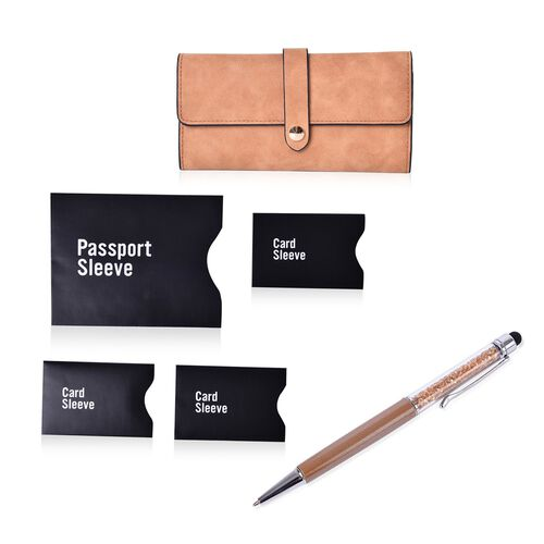Brown Colour Ladies Wallet (Size 19.5x10 Cm), Simulated Champagne Colour Diamond Filled Ball Pen in Silver Tone with RFID Blocker Black Colour 4 Card Holder