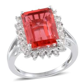 Padparadscha Colour Quartz (Oct 7.75 Ct), White Topaz Ring in Platinum Overlay Sterling Silver 8.750 Ct.