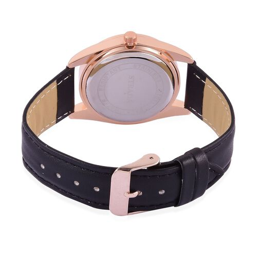 STRADA Japanese Movement Rose Gold Colour Dial Water Resistant Watch in Rose Gold Tone with Stainless Steel Back and Black Strap