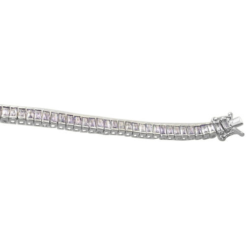 ELANZA AAA Simulated Diamond (Bgt) Bracelet in Rhodium Plated Sterling Silver (Size 7.25)