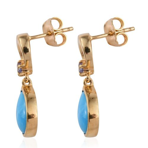 Arizona Sleeping Beauty Turquoise (Pear), Tanzanite Earrings (with Push Back) in 14K Gold Overlay Sterling Silver 2.500 Ct.