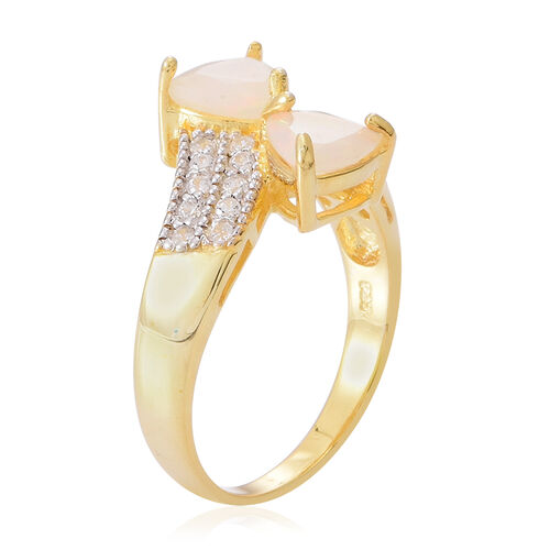 AA Ethiopian Welo Opal (Trl), White Topaz Crossover Ring in 14K Gold Overlay Sterling Silver 1.750 Ct.
