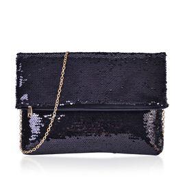 Black Colour Sequin Clutch Bag with Chain Strap (Size 31x23 Cm)