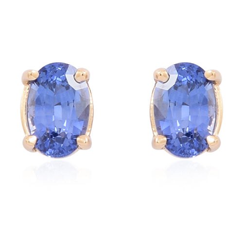 ILIANA 18K Y Gold AAA Ceylon Sapphire (Ovl) Stud Earrings (with Screw Back) 1.250 Ct.