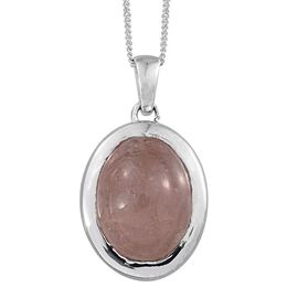 Marropino Morganite (Ovl) Solitaire Pendant With Chain in Platinum Overlay Sterling Silver 9.000 Ct.
