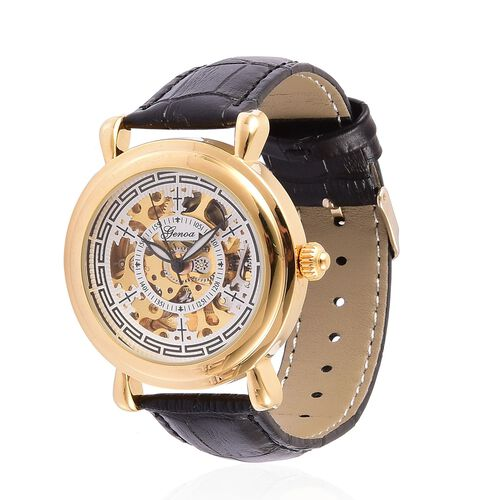 GENOA Automatic Skeleton White Dial Water Resistant Watch in Gold Tone with Black Colour Strap