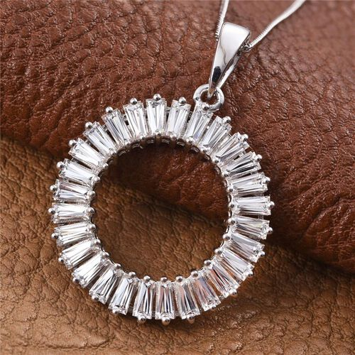 J Francis - Platinum Overlay Sterling Silver (Bgt) Circle Pendant With Chain Made with SWAROVSKI ZIRCONIA