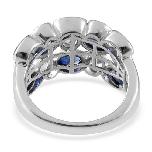 Kanchanaburi Blue Sapphire (Ovl), White Topaz Ring in Platinum Overlay Sterling Silver 3.250 Ct.