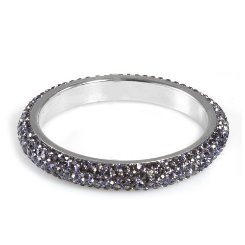 Cocktail Collections Celebrity Blue Austrian Crystal Bangle in Stainless Steel