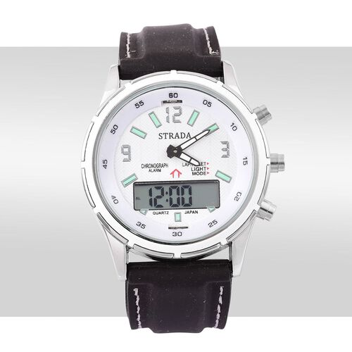 STRADA Chinese Movement White Colour Analog - Digital Watch in Silver Tone with Black Colour Silicone Strap