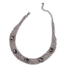AAA White Austrian Crystal and Simulated Grey Moon Stone Choker Necklace (Size 20 with 2 inch Extender) in Black Tone