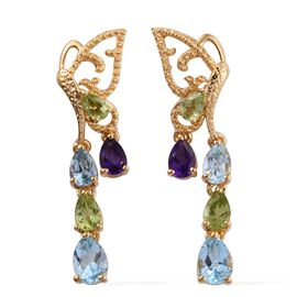 GP Sky Blue Topaz (Pear), Amethyst, Hebei Peridot and Kanchanaburi Blue Sapphire Earrings (with Push Back) in 14K Gold Overlay Sterling Silver 4.500 Ct.