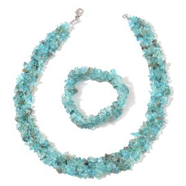 Paraibe Apatite Necklace (Size 18) and Stretchable Bracelet (Size 7.50) in Rhodium Plated Sterling Silver 594.200 Ct.