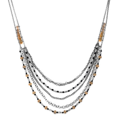 Simulated Champagne Diamond and Simulated Stone Multi Strand Necklace (Size 26 with 3 inch Extender) in Silver Tone
