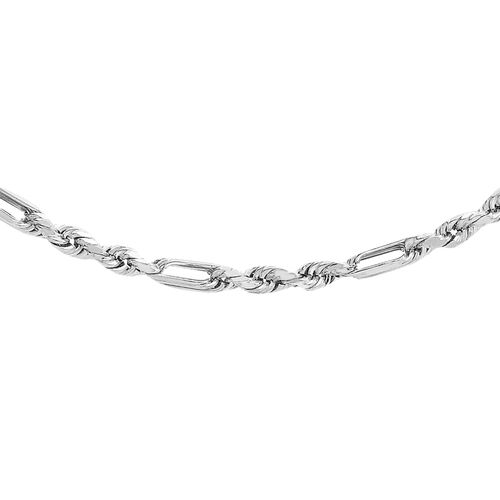 Vicenza Collection 9K White Gold Diamond Cut Figarope Chain (Size 20), Gold wt. 3.50 Gms.