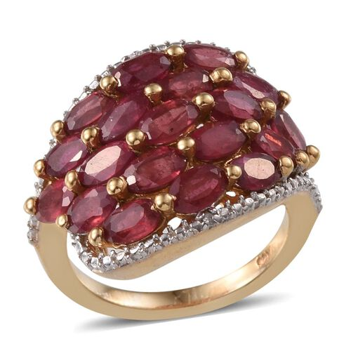 African Ruby (Ovl), Diamond Cluster Ring in 14K Gold Overlay Sterling Silver 4.760 Ct.
