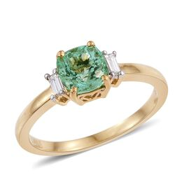 ILIANA 18K Y Gold Boyaca Colombian Emerald (Cush 1.30 Ct), Diamond Ring 1.500 Ct.