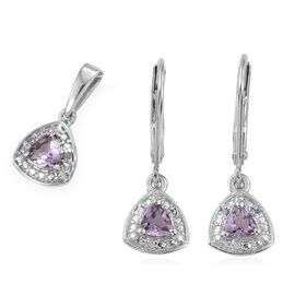 Rose De France Amethyst 0.65 Carat Trillion Pendant and Earrings Silver Set in Platinum Overlay with Diamonds