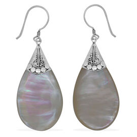 Royal Bali Collection Mother of Pearl Teardrop Hook Earrings in Sterling Silver 22.000 Ct.