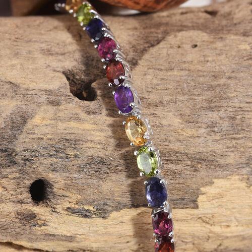 Mozambique Garnet (Ovl), Rhodolite Garnet, Hebei Peridot, Amethyst, Citrine and Iolite Bracelet (Size 7.5) in Platinum Overlay Sterling Silver 13.200 Ct.