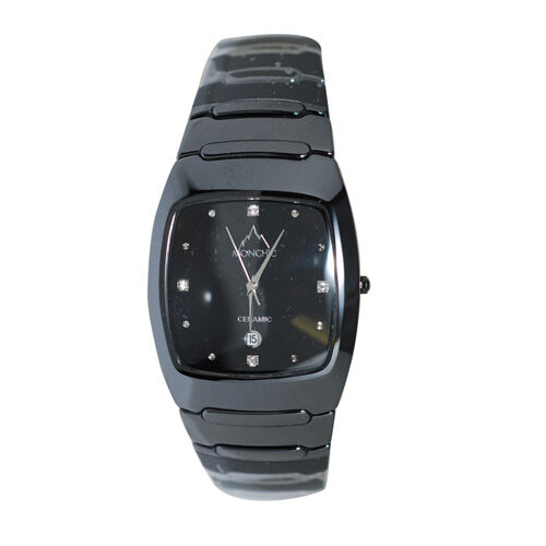 High Tech. Black Ceramic Japanese Movement Sapphire Crystal  Simulated Diamond Watch
