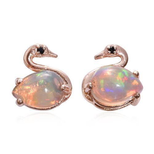 Ethiopian Welo Opal, Black Spinel 0.89 Ct Silver Swan Stud Earrings  in Rose Gold Overlay