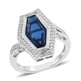 Ceylon Colour Quartz and Diamond Ring in Platinum Overlay Sterling Silver 5.250 Ct.