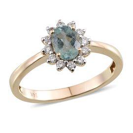 14K Y Gold Mozambique Paraiba Tourmaline (Ovl 0.85 Ct), Diamond Ring 1.100 Ct.