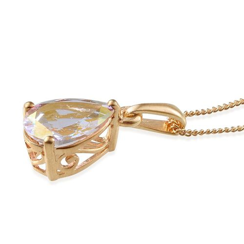 Mercury Mystic Topaz (Pear) Solitaire Pendant With Chain in 14K Gold Overlay Sterling Silver 1.900 Ct.