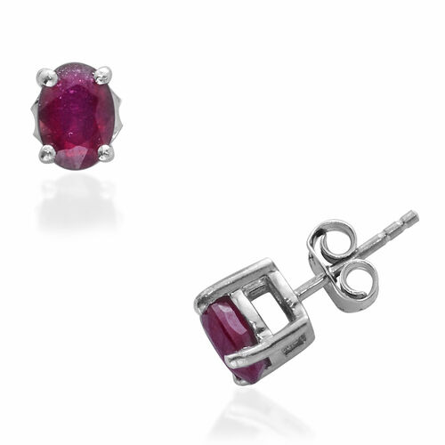 Ruby (Ovl) Stud Earrings in Platinum Overlay Sterling Silver 2.00 Ct.