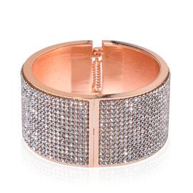 AAA White Austrian Crystal Bangle (Size 7.5) in Rose Gold Tone