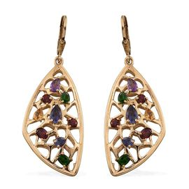 Stefy Iolite (Pear), Rhodolite Garnet, Russian Diopside, Mozambique Garnet, Amethyst, Citrine and Pink Sapphire Lever Back Earrings in 14K Gold Overlay Sterling Silver 3.750 Ct.