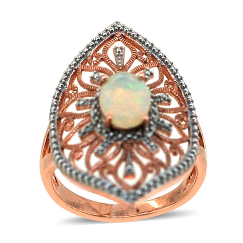 Ethiopian Welo Opal (Ovl) Ring in 14K Rose Gold Overlay Sterling Silver 1.020 Ct.