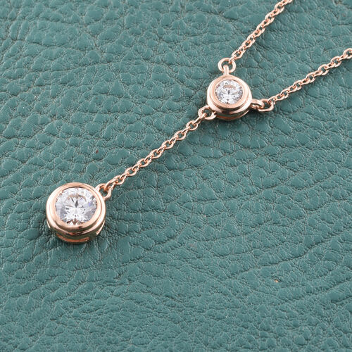 J Francis - Rose Gold Overlay Sterling Silver (Rnd) Necklace (Size 18) Made with SWAROVSKI ZIRCONIA