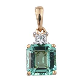 ILIANA 18K Yellow Gold 2.25 Carat Boyaca Colombian Emerald Octagon, Diamond SI G-H Pendant.