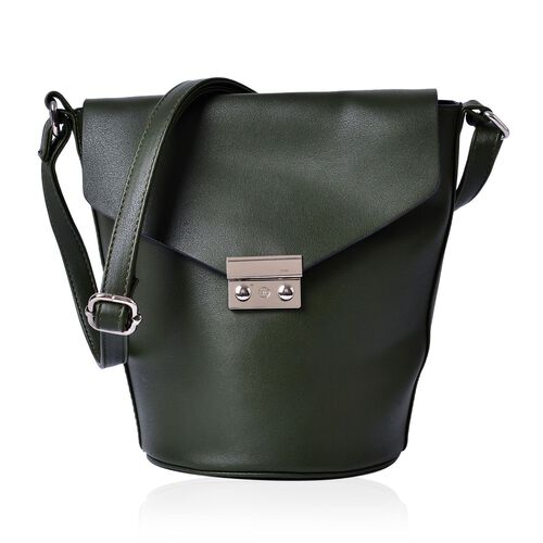 Greenwich Classic Structured Dark Green Messenger Bag with Adjustable Shoulder Strap ( Size 24.5x24x16x16 Cm)