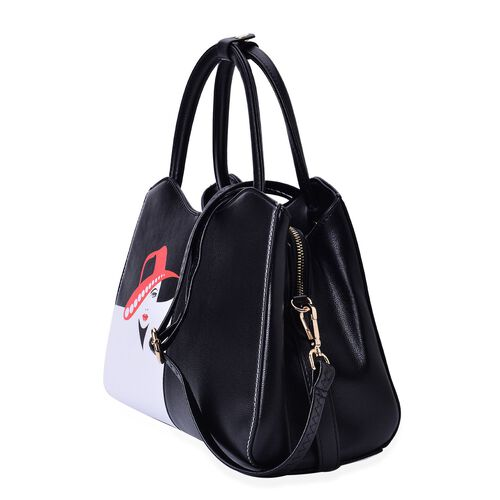 Girl with Hat Printed Black, White and Red Colour Tote Bag with External Zipper Pocket and Adjustable, Removable Shoulder Strap (Size 31x22x14 Cm)